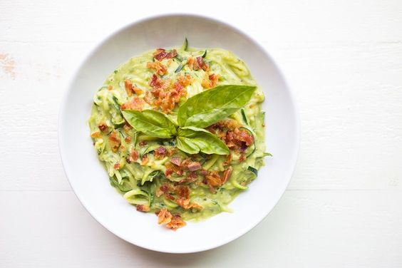 Creamy Bacon and Avocado Zucchini Noodles